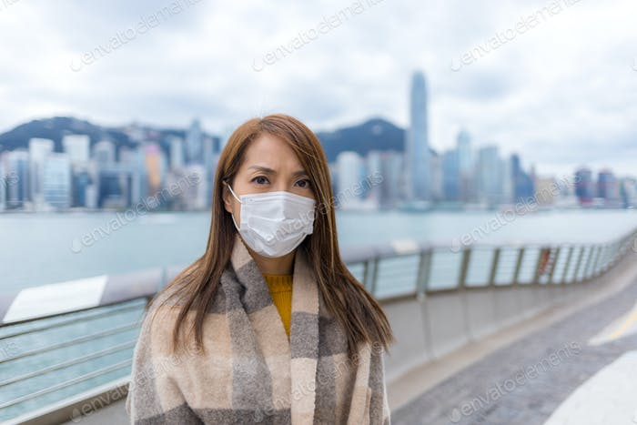Woman wear face mask at outdoor