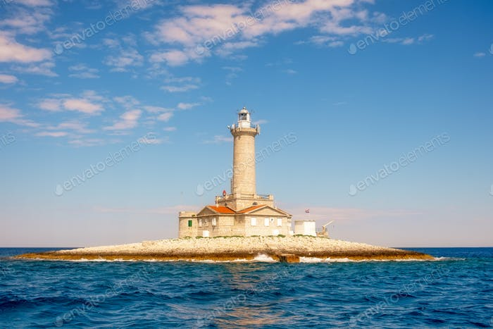 Ocean lighthouse on Istria penninsula, Croatia