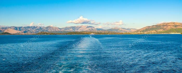 View of Corfu island from Ionian sea