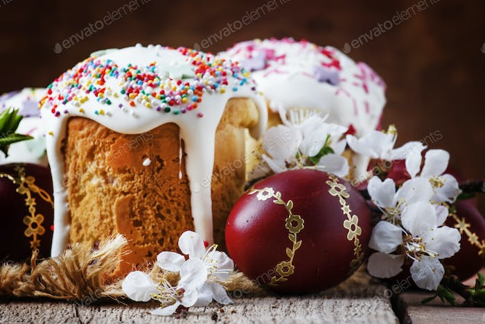 Easter cakes kulich, with colored red eggs