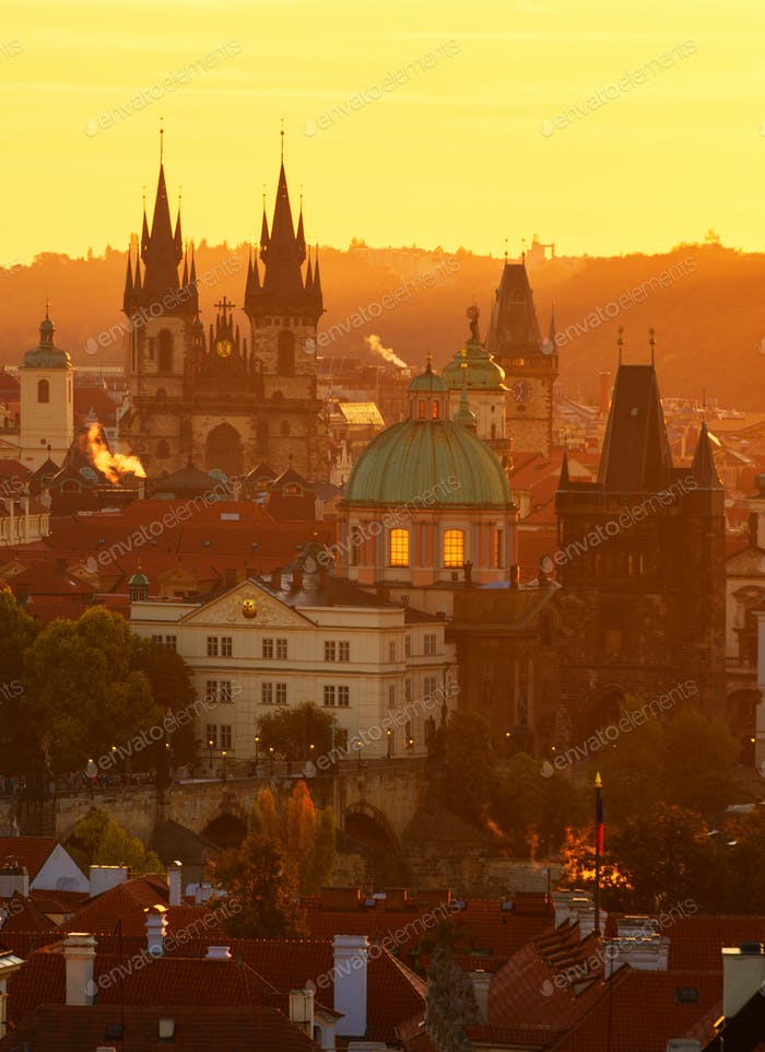 The Gothic church of Our Lady before Tyn during amazing sunrise. Prague, Czech republic
