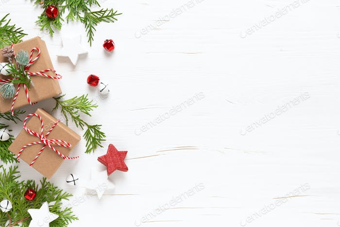 Christmas, New Year, Xmas or Noel holiday festive winter greeting card with decorations and gift