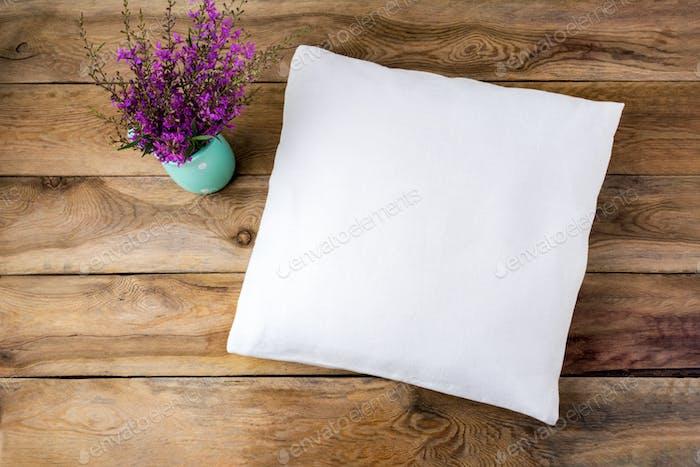 Pillow mockup with purple wildflowers