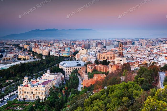 Malaga, Spain cityscape at the Cathedral, City Hall and Alcazaba citadel of Malaga
