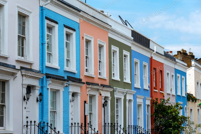 Colorful serial houses in Notting Hill