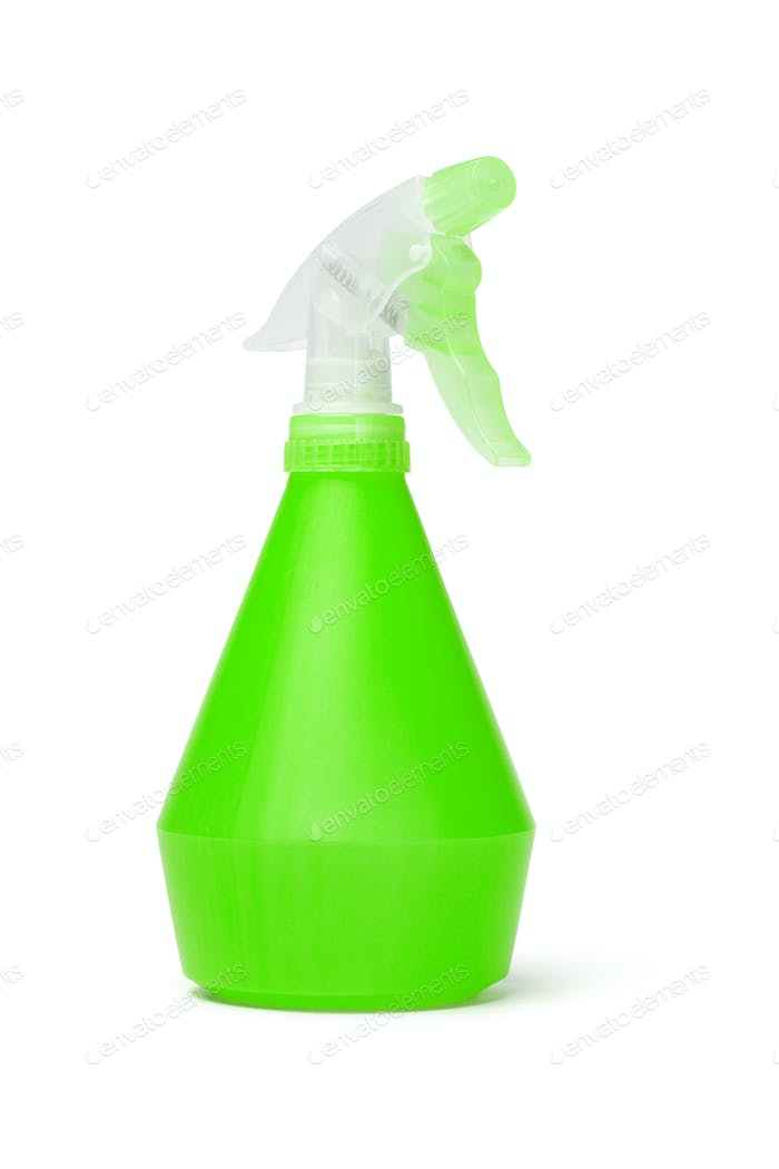 Green plastic spray bottle