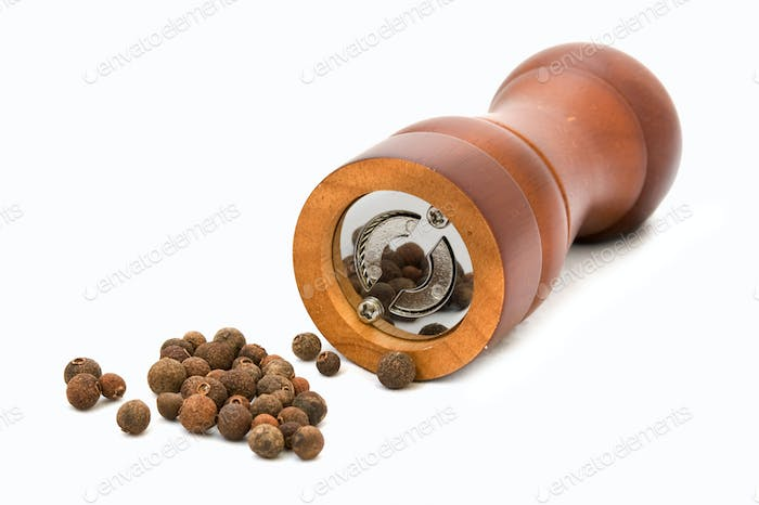 peppercorns and mill