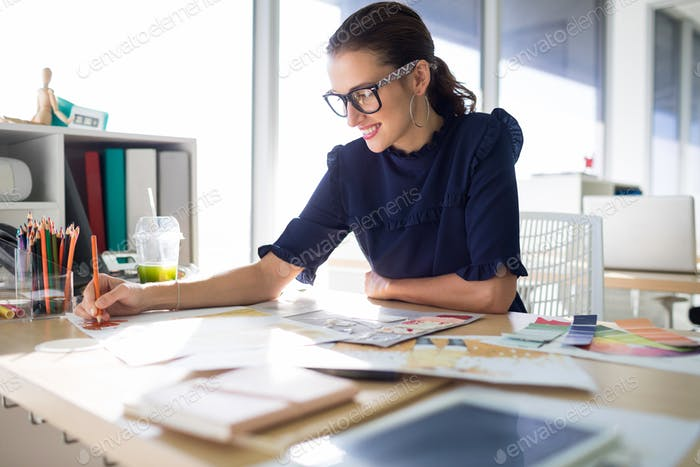 Female executive working at her desk