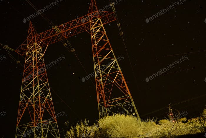 Electricity Cabels with Night Sky