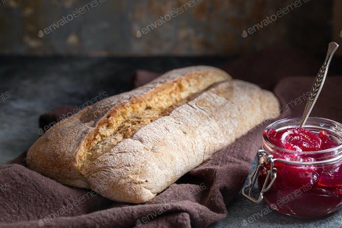 Ciabatta bread and jam