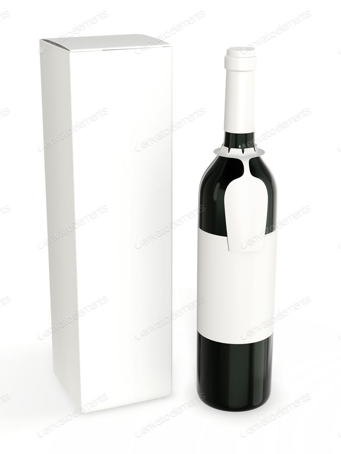 A bottle with a hanging tag for your brand and a cardboard packaging box.