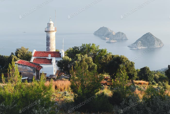 Picturesque scene with lighthouse on Gelidonya cape