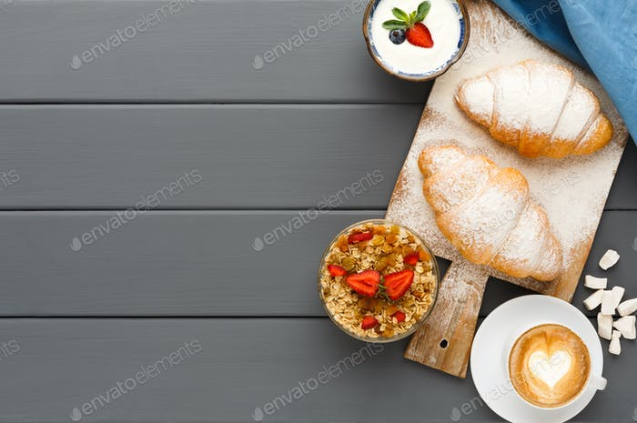 Traditional french breakfast background copy space