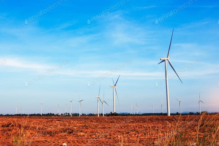 Agricultural areas with wind turbines