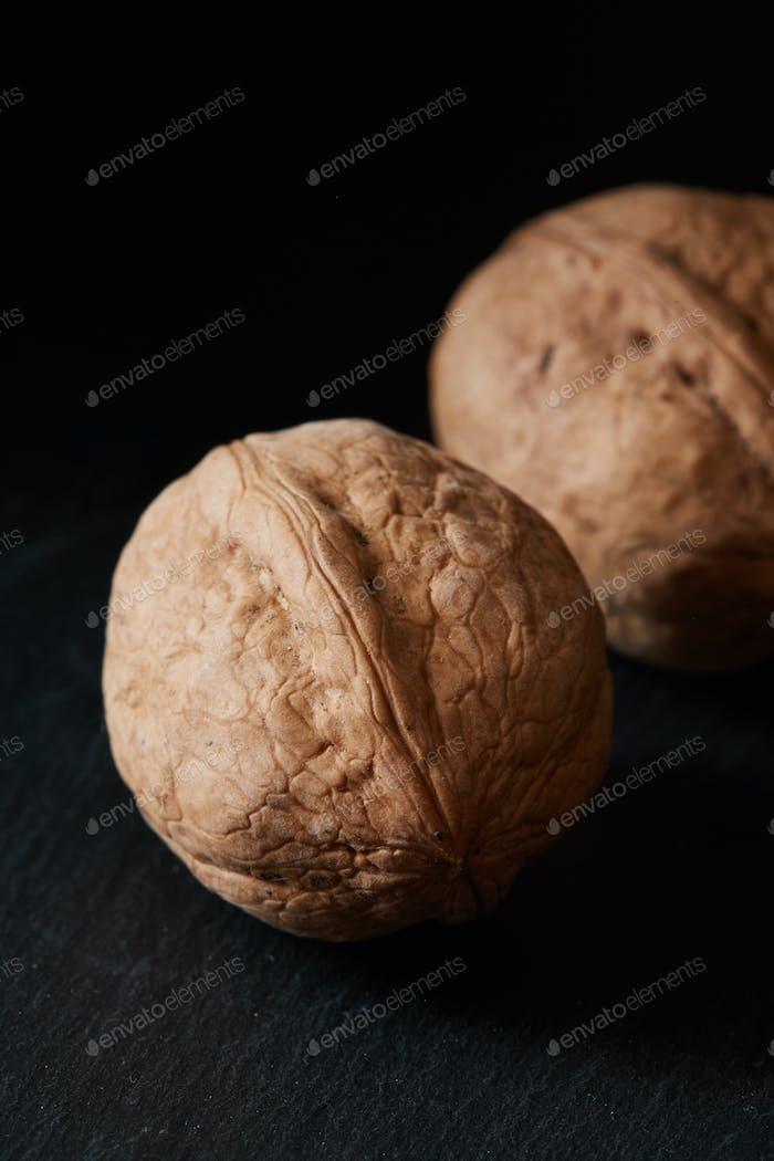 Walnuts on a slate backdrop