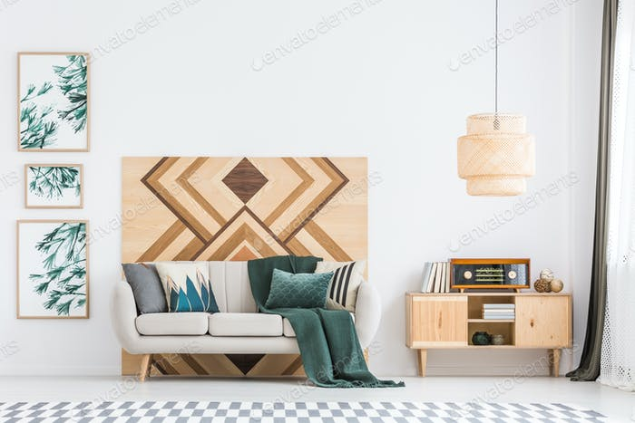 Retro wooden living room interior