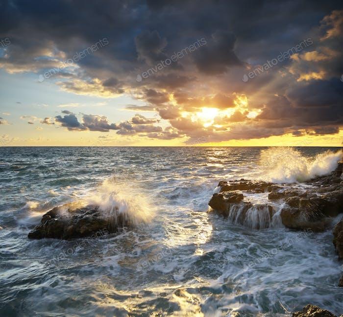 Storm seascape nature composition