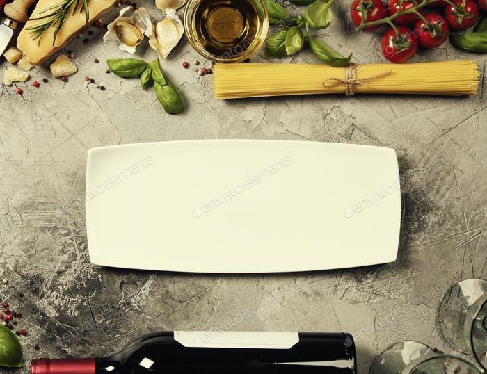Thumbnail for Italian food background. Slate background with space for text