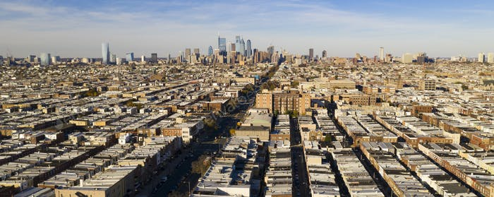 Long Panoramic View Dense Urban Neighborhoods Skyline Philadelphia