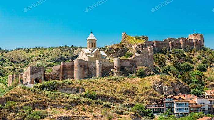 Scenic View Of Narikala Fortress And Bethlehem Church In Tbilisi