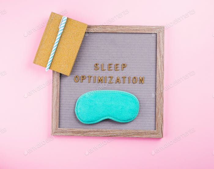 Sleep optimization phrase on letter board and diary