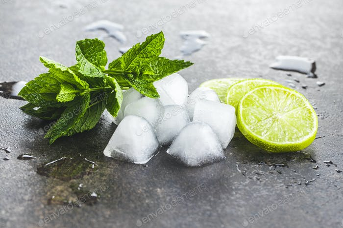 Green mint leaves, ice cubes and sliced lime