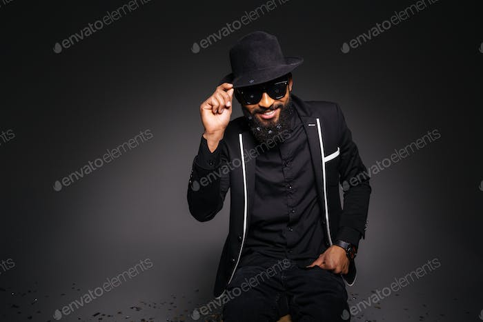 Happy afro american man in stylish cloth