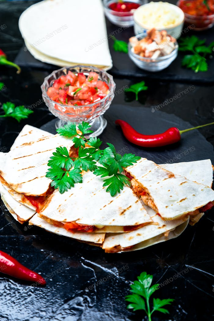 Mexican quesadilla with salsa