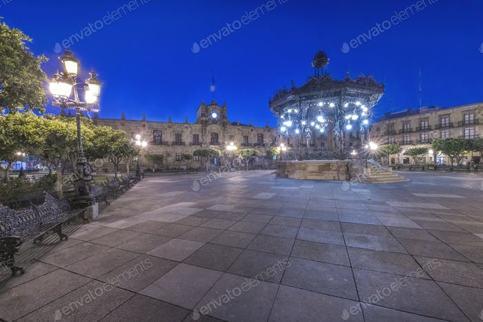 55106,Illuminated monument in Plaza de Armas, Guadalajara, Jalisco, Mexico