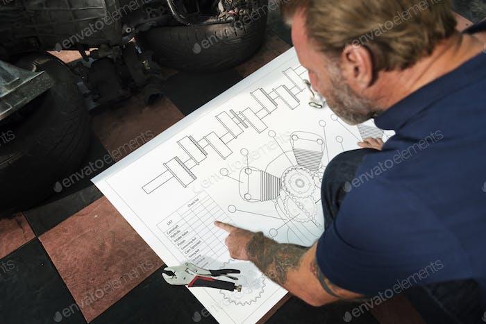 Construction Master Plan Draft Blueprint Male Concept