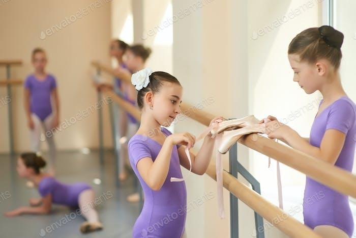 Young beautiful ballerinas close up