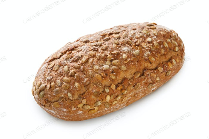 Rye bread loaf with seeds at white background