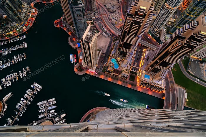 Dubai marina skyline during night.