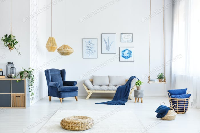 White room with wood sofa