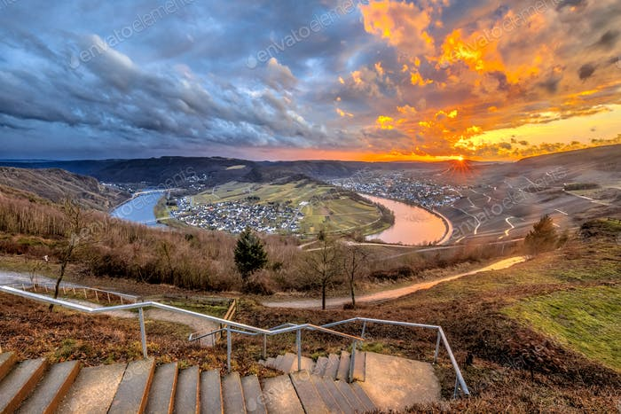Spectacular sunset over Mosel