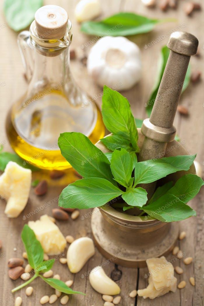 ingredients for pesto sauce