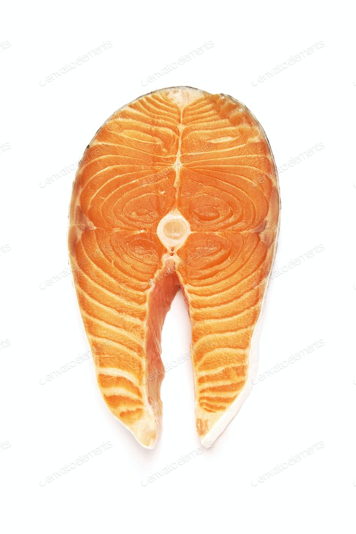 fresh salmon steak on white background