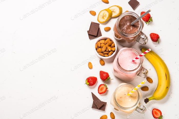 Set of milkshakes in mason jars