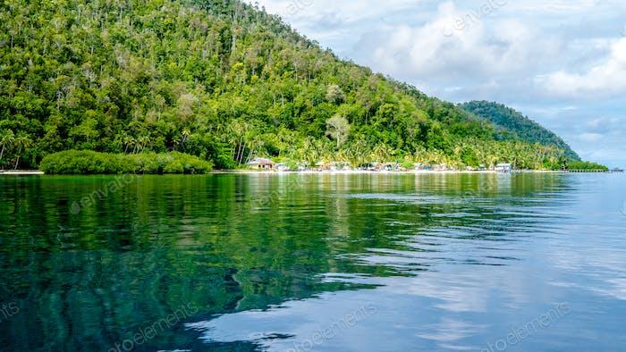 Village on Monsuar Island. Raja Ampat, Indonesia, West Papua
