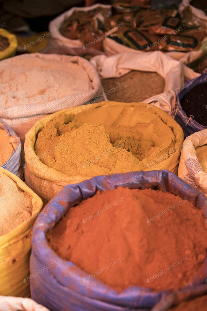 Berbere spice other spices in a market in Ethiopia