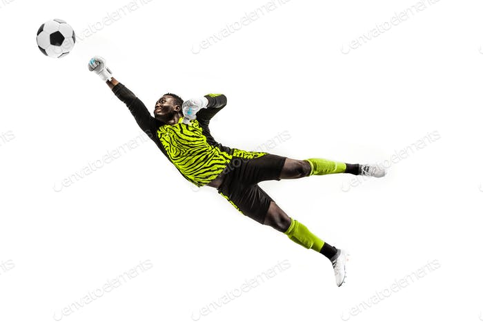 One soccer player goalkeeper man catching ball