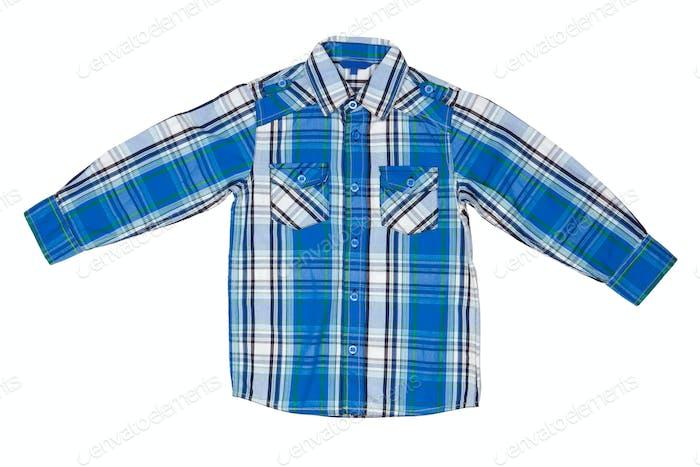 er blaues kariertes Hemd