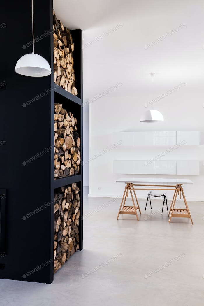 High rack to store firewood indoor and minimalist desk