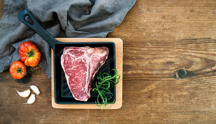 Raw uncooked meat t-bone steak