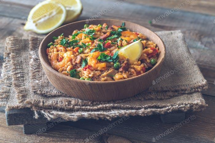 Bowl of chicken and chorizo paella