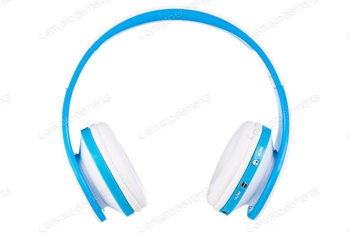 Blaue drahtlose Kopfhörer Frontansicht isoliert auf weißem Hintergrund