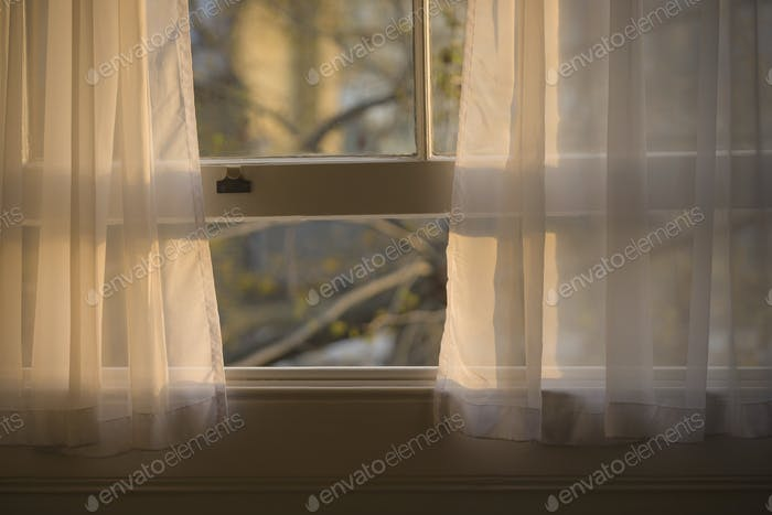 Sheer curtains in open window