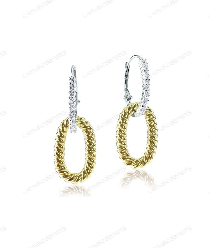 Yellow gold and diamond drop earrings