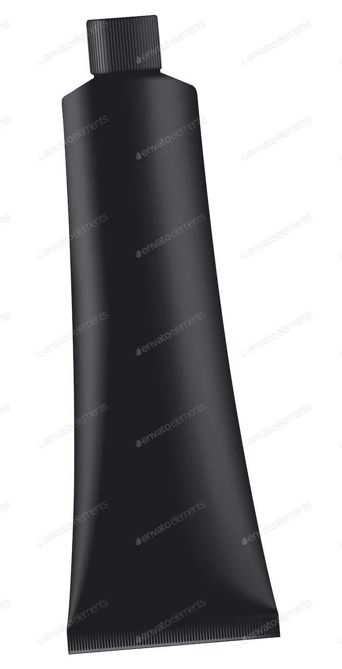 Black cream tube isolated