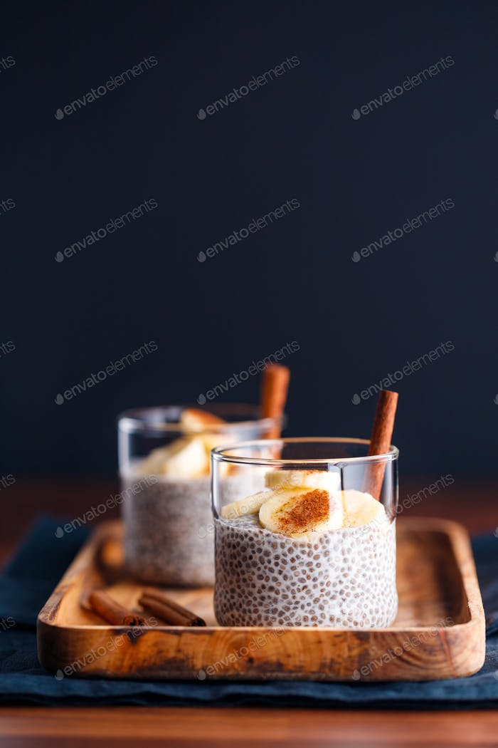 Chia pudding with coconut milk and banana